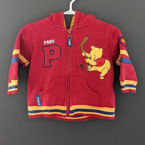 Disney Winnie the Pooh hockey red zip up hoodie